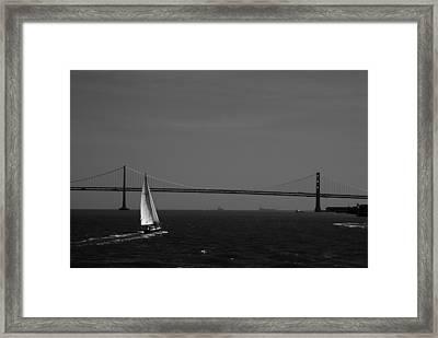 Sfb Sailng Bay Bridge Framed Print by Sonja Anderson