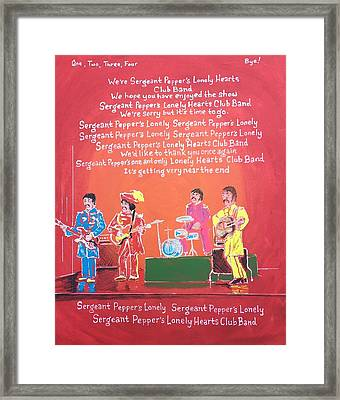 Sgt. Pepper's Lonely Hearts Club Band Reprise Framed Print by Jonathan Morrill