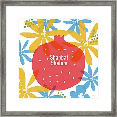 Shabbat Shalom Pomegranate- Art By Linda Woods Framed Print