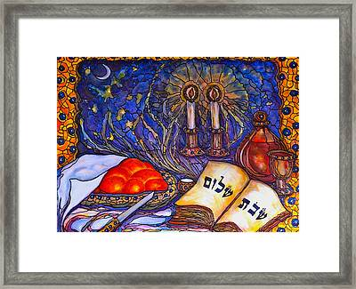 Shabbat Shalom Framed Print by Rae Chichilnitsky