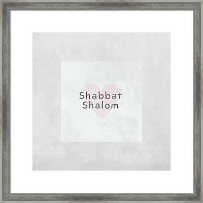 Shabbat Shalom Soft Heart- Art By Linda Woods Framed Print by Linda Woods