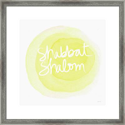 Shabbat Shalom Sun Drop - Art By Linda Woods Framed Print