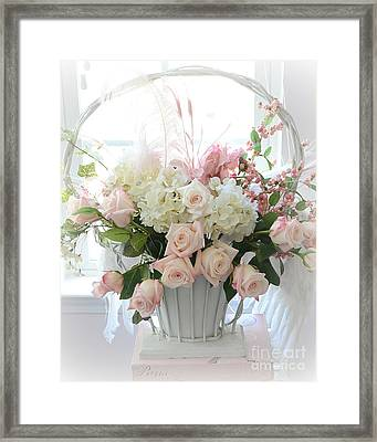 Shabby Chic Basket Of White Hydrangeas - Pink Roses - Dreamy Shabby Chic Floral Basket Of Roses Framed Print