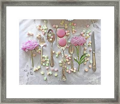 Shabby Chic Cottage Kitchen Art - Dreamy Peonies Macarons Silverplate Still Life Floral Flatware Framed Print by Kathy Fornal