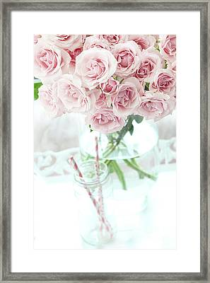Shabby Chic Cottage Pastel Pink Roses In Clear Vase - Romantic Pink Roses Cottage Garden Decor Framed Print by Kathy Fornal