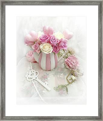 Shabby Chic Valentine Pink And Yellow Roses In Vase - Romantic Roses Skeleton Key Art Framed Print