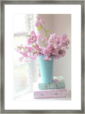 Shabby Chic Cottage Pink Blossoms - Impressionistic Shabby Chic Dreamy Pink Blossoms Floral Fine Art Framed Print by Kathy Fornal