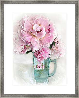 Shabby Chic Cottage Pink Peonies Peony Flower Print - Romantic Cottage Pink Aqua Peonies In Vase Framed Print by Kathy Fornal