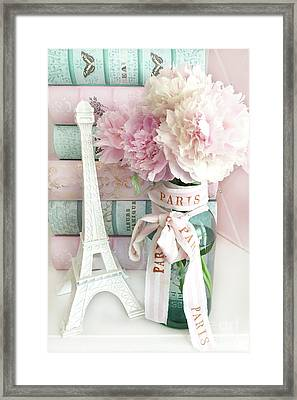 Parisian Cottage Pink Peonies With Eiffel Tower And Books - Shabby Cottage Peony Eiffel Tower Art Framed Print by Kathy Fornal