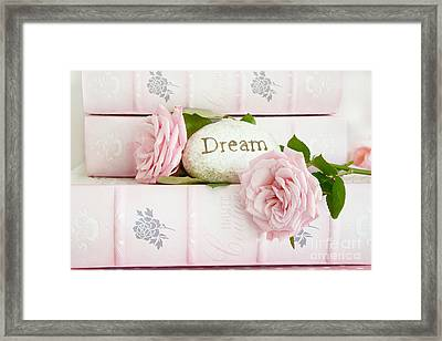 Shabby Chic Cottage Pink Roses On Pink Books - Romantic Inspirational Dream Roses  Framed Print by Kathy Fornal