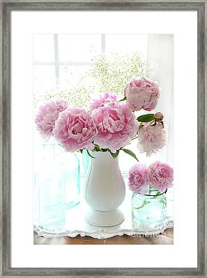 Shabby Chic Cottage Romantic Pink White Peonies In Window - Romantic Peonies Decor  Framed Print