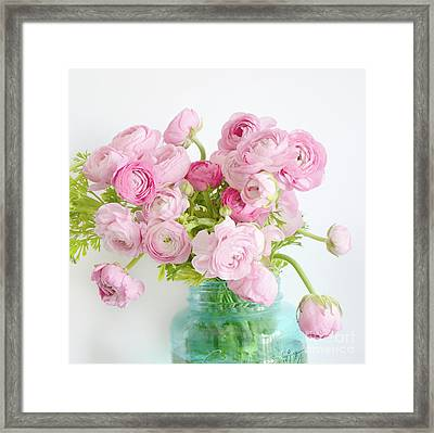 Shabby Chic Cottage Spring Summer Flowers - Ranunculus Roses Peonies Ethereal Dreamy Floral Prints Framed Print by Kathy Fornal