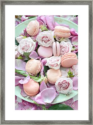 Shabby Chic French Pastel Pink Macarons Pink Roses Romantic Roses Macarons Framed Print by Kathy Fornal