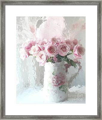 Shabby Chic Impressionistic Romantic Pink Roses In Vase - Pink And White Romantic Roses Decor Framed Print