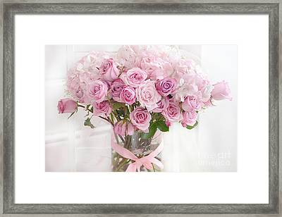 Shabby Chic Pastel Bouquet Of Pink Roses - Cottage Romantic Pink Roses Floral Decor Framed Print by Kathy Fornal