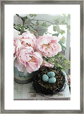 Shabby Chic Peonies With Bird Nest Robins Eggs - Summer Garden Peonies Framed Print by Kathy Fornal