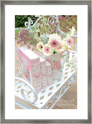 Shabby Chic Pink And Yellow Gerber Daisies Floral Art - Spring Cottage Daisies Floral Art Framed Print by Kathy Fornal