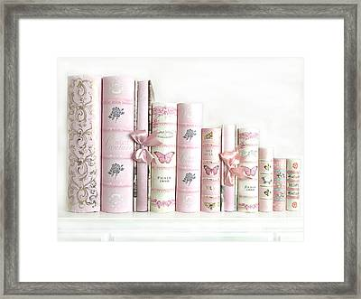Shabby Chic Pink Books Collection - Paris Pink Books Art Prints Home Decor Framed Print by Kathy Fornal