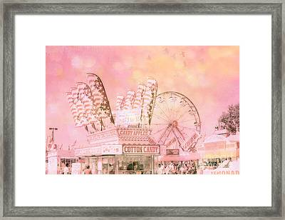 Shabby Chic Pink Carnival Art - Cotton Candy Pink Carnival Ferris Wheel Prints Framed Print by Kathy Fornal