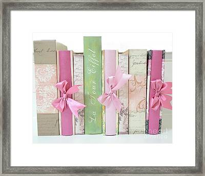 Shabby Chic Pink Pastel Books Collection - Shabby Chic Paris Cottage Chic Pink Books Ribbons  Framed Print by Kathy Fornal