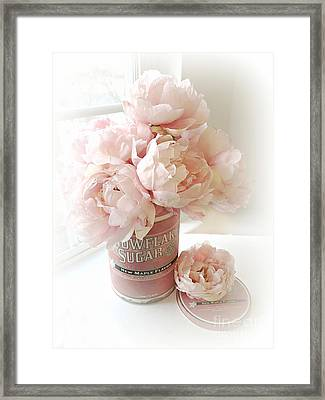 Shabby Chic Pink Pastel Peach Peonies Vintage Romantic Floral Decor Framed Print by Kathy Fornal