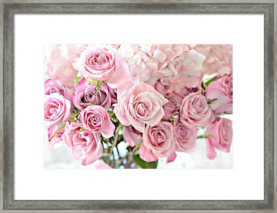 Shabby Chic Pink Pastel Roses - Romantic Cottage Pink Pastel Roses Floral Decor Framed Print