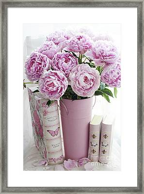 Shabby Chic Pink Peonies Books Print And Home Decor - Pink Peonies Shabby Chic Pastel Books Wall Art Framed Print