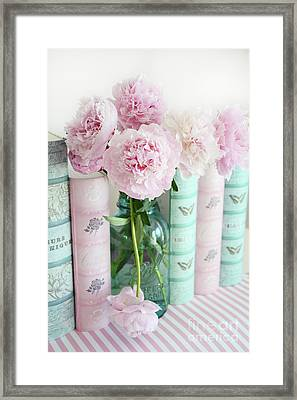 Shabby Chic Pink Peonies Books Print - Shabby Chic Peonies Aqua Pink Books Wall Art Home Decor  Framed Print by Kathy Fornal