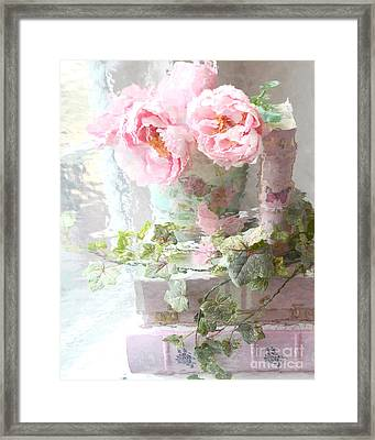 Shabby Chic Pink Peonies Impressionistic Romantic Dreamy Cottage Peonies On Pink Books Framed Print by Kathy Fornal