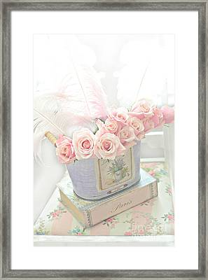 Shabby Chic Pink Roses On Paris Books - Romantic Dreamy Floral Roses In Bucket Framed Print by Kathy Fornal