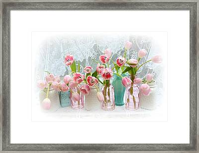Shabby Chic Pink Tulips - Romantic Cottage Pink Aqua White Tulips Mason Jars Framed Print by Kathy Fornal