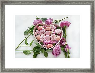 Shabby Chic Romantic Botanical Roses Pink Macarons - French Macarons Botanical Roses Heart Art Framed Print