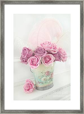Shabby Chic Romantic Bucket Of Roses - Shabby Cottage Romantic Pink Roses Floral Art Framed Print by Kathy Fornal