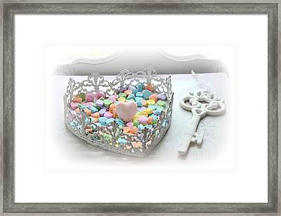 Shabby Chic Romantic Candy Hearts With White Key - Romantic Valentine Candy Hearts  Framed Print by Kathy Fornal