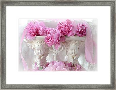 Shabby Chic Romantic Cottage Pink Peonies And Cherubs - Pink Peonies White Cherubs Decor Framed Print by Kathy Fornal