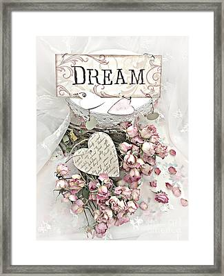Framed Print featuring the photograph Shabby Chic Romantic Dream Valentine Roses - Romantic Dreamy Roses Valentine Hearts by Kathy Fornal