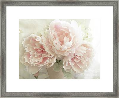 Shabby Chic Romantic Pastel Pink Peonies Floral Art - Pastel Peonies Home Decor Framed Print