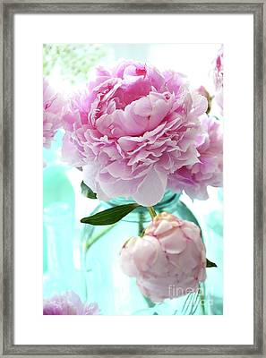 Shabby Chic Romantic Pink Peonies Aqua Mason Ball Jars - Cottage Summer Garden Peonies Decor Framed Print by Kathy Fornal