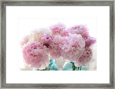 Shabby Chic Romantic Pink Peonies In Aqua Mason Jars - Shabby Cottage Aqua Pink Paris Peonies Framed Print