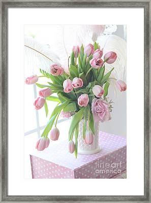 Shabby Chic Romantic Pink Tulips In Vase - Dreamy Cottage Pastel Pink Tulips  Framed Print by Kathy Fornal