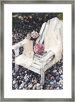 Shabby Chic Romantic White Adirondac Vintage Garden Chair Framed Print by Kathy Fornal