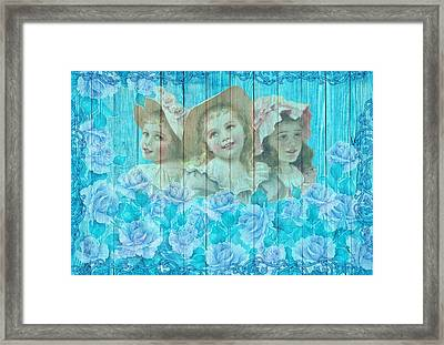 Shabby Chic Vintage Little Girls And Roses On Wood Framed Print