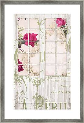 Shabby Cottage French Doors Framed Print by Mindy Sommers