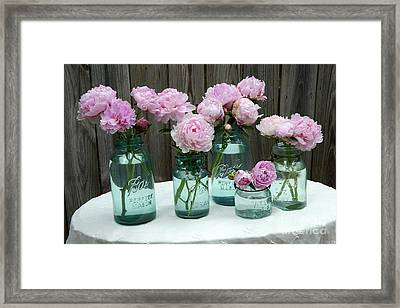 Shabby Cottage Pink Peonies In Aqua Blue Mason Ball Jars - Summer Garden Pink Peonies Decor Framed Print by Kathy Fornal