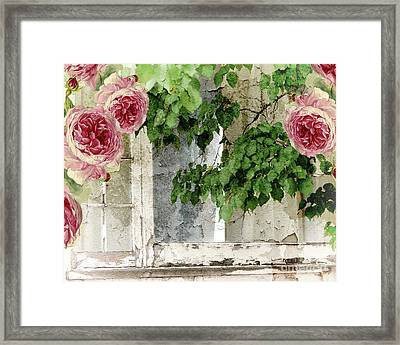 Shabby Cottage Window Framed Print by Mindy Sommers