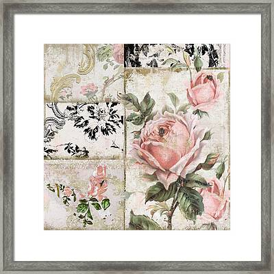 Shabby Pink Tea Roses Framed Print by Mindy Sommers
