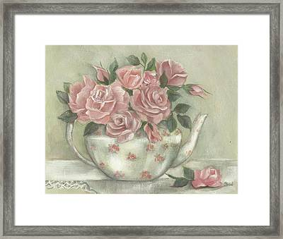 Shabby Teapot Rose Painting Framed Print