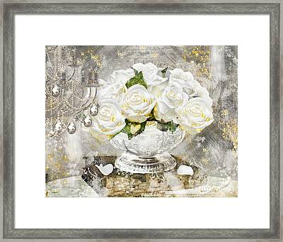 Shabby White Roses With Gold Glitter Framed Print by Mindy Sommers