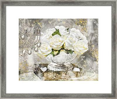 Shabby White Roses With Gold Glitter Framed Print