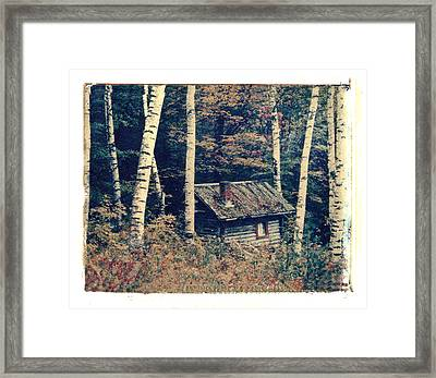 Shack And Birch Trees Framed Print